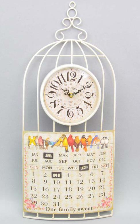 """Часы настенные """"Bird family"""" с календарем 60x26см"""