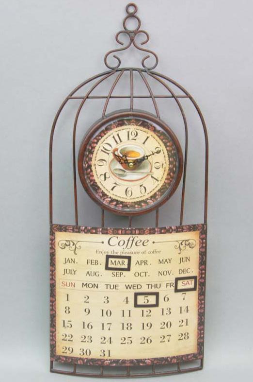 """Часы настенные """"Coffee"""" с календарем 60x26см"""