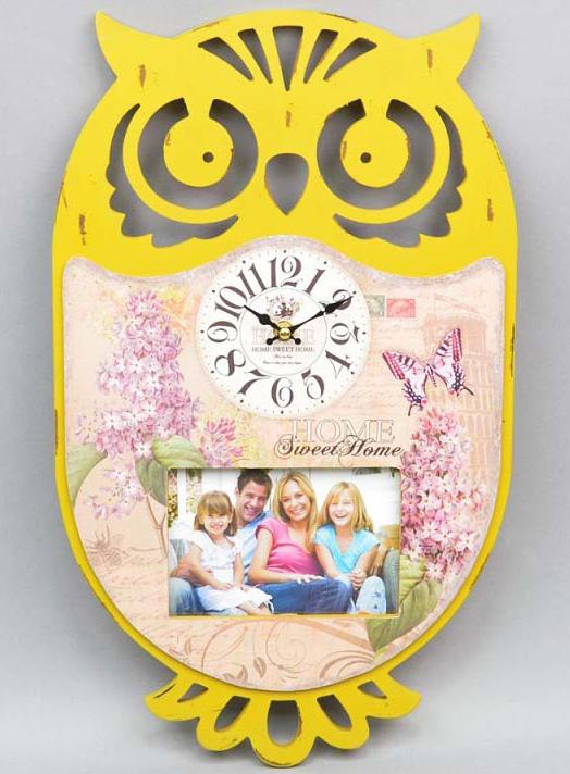 """Часы настенные """"Сова"""" с фоторамкой 50x30см желтые"""