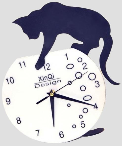 """Часы настенные """"Кошка и аквариум"""" 30.5x26см"""