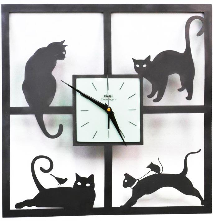 """Часы настенные """"Четыре кошки"""" 40x40см"""
