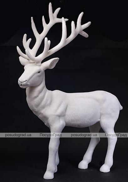 """Новогодний декор """"Белый олень"""" 76см пластик"""