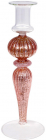 Підсвічник скляний Candlestick 8.5х25см, рожевий