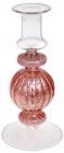 Підсвічник скляний Candlestick 8.5х18см, рожевий