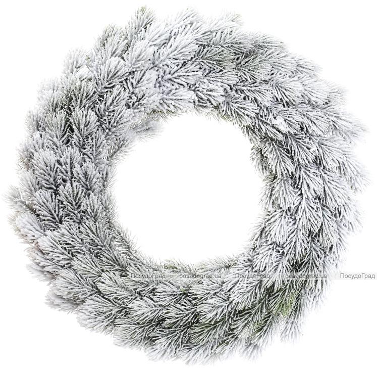 """Новорічний декоративний вінок """"Хвоя в снігу"""" Ø50см, штучна хвоя"""