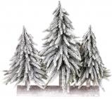 """Декоративна композиція із 3 ялинок """"Сніжна"""" 35х15х35см, на дерев'яній підставці"""