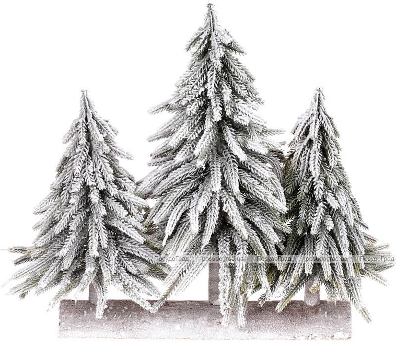 """Декоративная композиция из 3 елок """"Снежная"""" 35х15х35см, на деревянной подставке"""