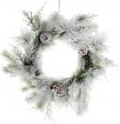 """Новогодний декоративный венок """"Снежный"""" Ø34см, искусственная хвоя с шишками"""