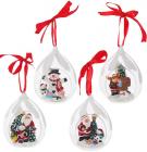 """Набор 4 подвески """"Новогодние друзья"""" в стеклянном шаре, 8.2х7.2х11см"""