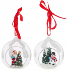 """Набір 4 підвіски """"Санта і Сніговик"""" у скляній кулі, 8х7х8.5см"""