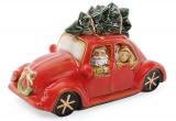 """Декор новорічний """"Санта в машині"""" 23.5х10х11.5см фарфор з LED-підсвіткою"""