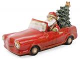 """Декор новогодний """"Санта в машине"""" 35х15х18.5см фарфор с LED-подсветкой"""