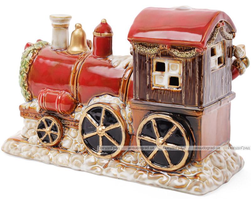 """Декор новогодний """"Санта в поезде"""" 31.5х12х20.5см фарфор с LED-подсветкой"""