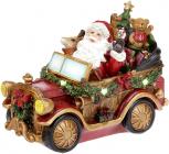 """Декоративна композиція """"Санта в автомобілі"""" з LED підсвічуванням, 26х13х19.5см"""