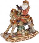 Статуетка керамічна «Санта з малюком на конику» 13х5.5х14см