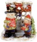 Подсвечник керамический «Мальчик и Снеговик» 16.8х14.2х16.5см