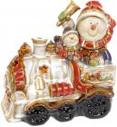 Декоративна статуетка «Сніговики на паровозі» з LED підсвічуванням, 18х10х18см
