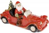 Декор новогодний «Санта в красном автомобиле» с LED подсветкой 36х14х18см
