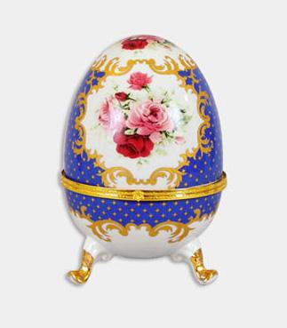 """Шкатулка в форме яйца """"Пасха Blue Classic"""", высота 20см"""