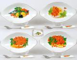 Икорница фарфоровая с ложкой Икра Sea Food 17.5см