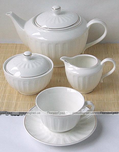 """Чайный набор """"Rococo-I"""" Белый 220мл 15 предметов на 6 персон"""