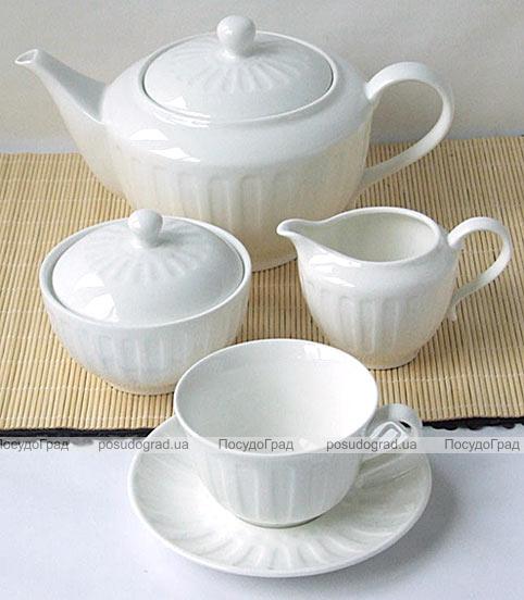 "Чайный набор ""Rococo-II"" Белый 220мл 15 предметов на 6 персон"