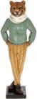 """Статуетка декоративна """"Тигр у шарфі"""" 37.5см, полистоун, бірюза з жовтим"""