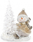 "Статуэтка декоративная ""Снеговик наряжает елочку"" 13.5см с LED-подсветкой"