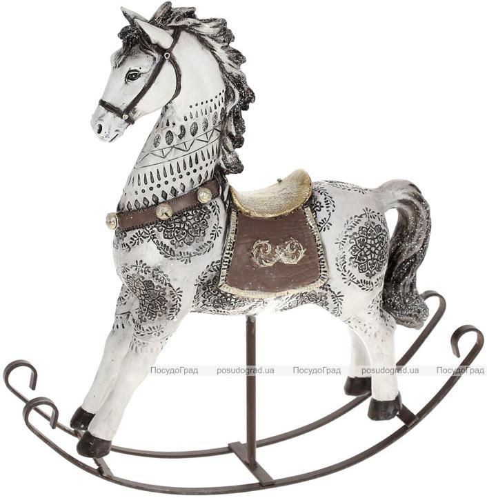 """Декоративна статуетка-качалка """"Конячка"""" 27х7.5х30см, полістоун, біла з чорним"""