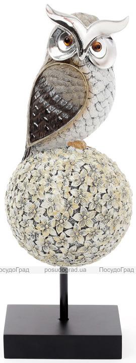 """Декоративная статуэтка """"Сова на дереве"""" 11.8х12х33.4см, серебристая"""
