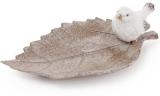 """Блюдо декоративне """"Біла пташка на листі"""" 21.5см, полістоун"""
