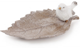 "Блюдо декоративное ""Белая птичка на листе"" 21.5см, полистоун"