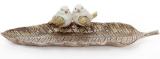 """Блюдо декоративне """"Золоті пташки на листі"""" 42см, полістоун"""