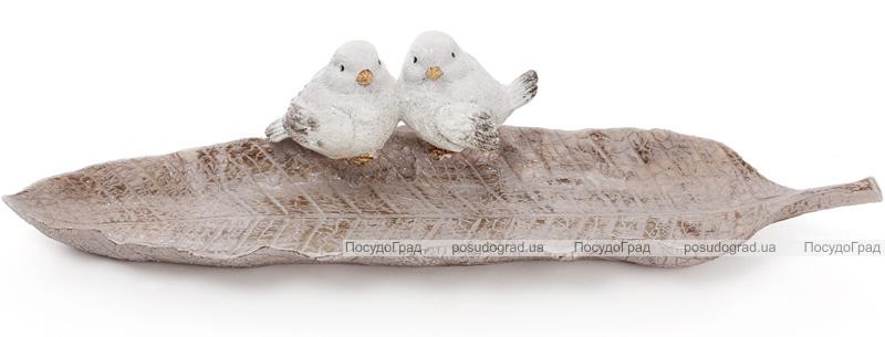 """Блюдо декоративное """"Птички на листе"""" 42см, полистоун"""