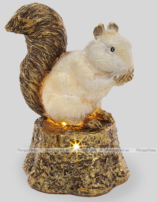 """Статуэтка """"Белочка на золотом пеньке"""" с LED-подсветкой, 27.5см"""