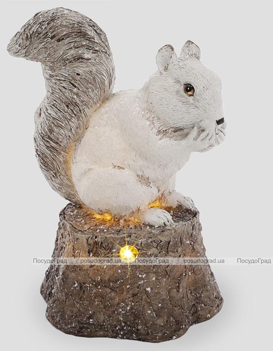 "Статуэтка ""Белочка на серебристом пеньке"" с LED-подсветкой, 27.5см"