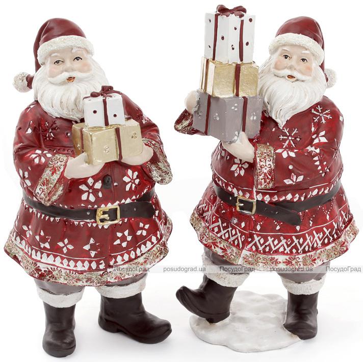 """Новогодняя статуэтка """"Санта с подарками"""" 13х11.5х24см"""