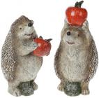 """Набор 2 статуэтки """"Ежики с красными яблоками"""" 19.5см"""