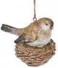"""Набір 4 декоративні підвіски """"Птах у гніздечку"""" 9х9см, полістоун"""