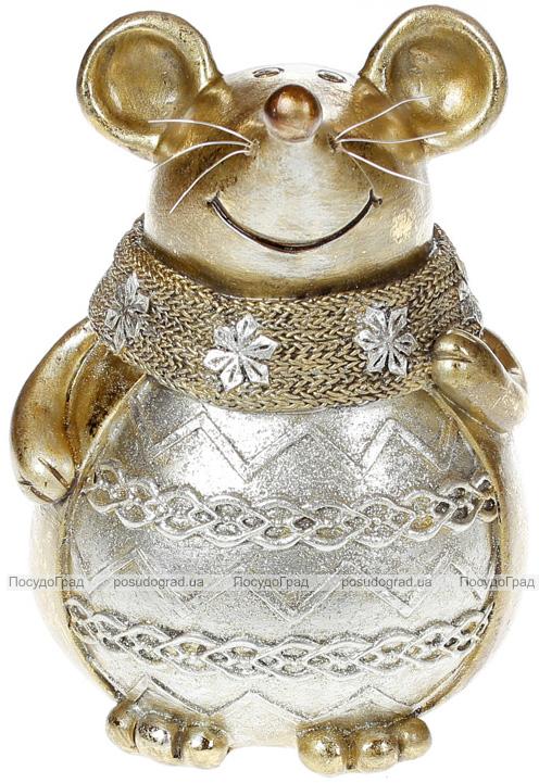 """Декоративная копилка """"Золотая мышка в шарфике"""" 17см"""