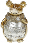 """Декоративна скарбничка """"Золота мишка в шарфику"""" 13.5см"""