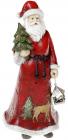 """Статуетка декоративна """"Санта з ялинкою"""" 22см, в червоному"""