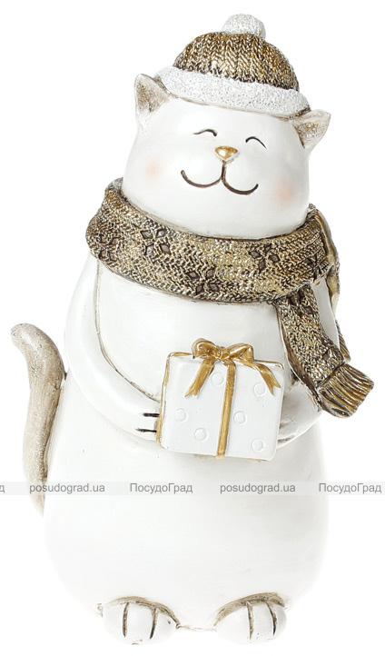 """Статуэтка """"Котик с подарком"""" 22см, золото"""
