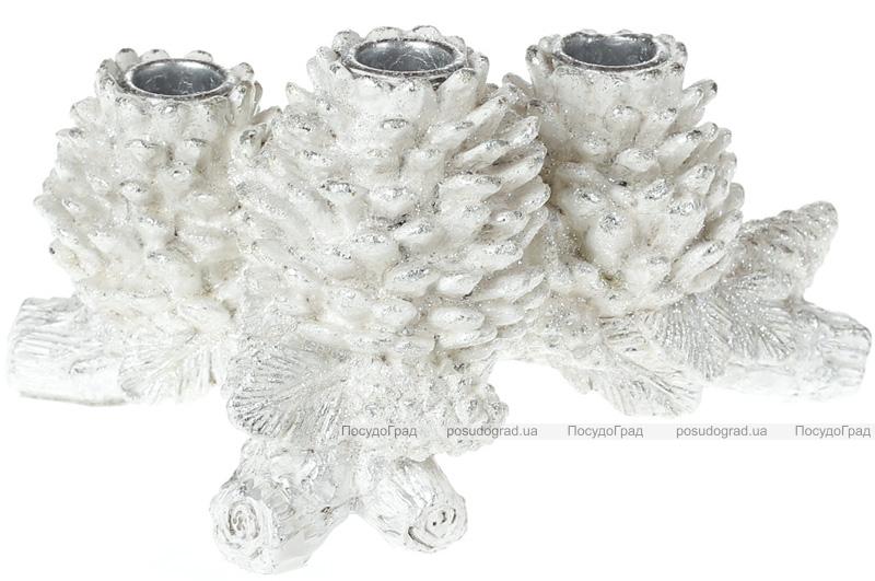 "Декоративный подсвечник ""Белые шишки"" 22см, на 3 свечи"