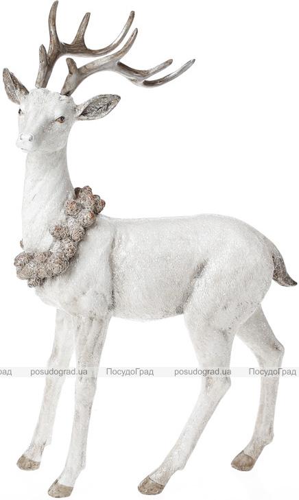 """Статуэтка """"Белый олень с венком из шишек"""" 34.5см"""