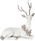 """Статуетка """"Білий олень з вінком із шишок"""" 21.5см"""