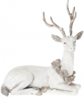 """Статуэтка """"Белый олень с венком из шишек"""" 21.5см"""