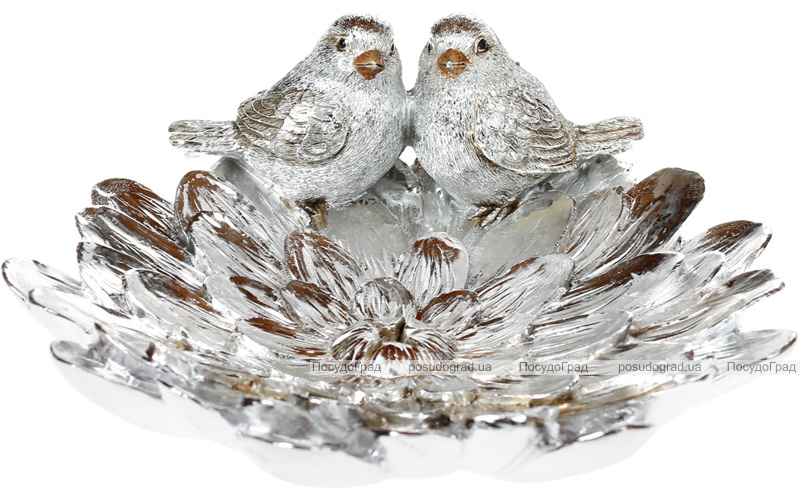 "Декоративное блюдо ""Птички на серебристой астре"" 20см"