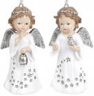 """Набор 2 декоративные подвески """"Звездный Ангел"""" Серебро 7х5.5х13см, полистоун"""