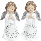 """Набір 2 декоративні статуетки """"Зоряний Янгол"""" Срібло 8.5х6х16.5см, полістоун"""